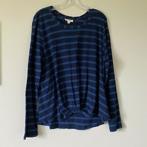 XL NWT JANE & DELANCEY stitchfix Womans Striped Twist Front Cotton Tee Top