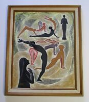 LEONORA CETONE STARR PAINTING 1960'S TO 1970'S ABSTRACT EXPRESSIONISM YOGA POSE