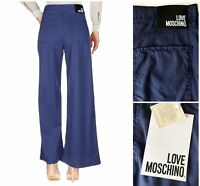 LOVE MOSCHINO Womens Palazzo Trousers UK 14 Sz 32 Made in Italy Blue RRP£110