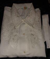 Edle Designer-Bluse Weiß mit Strickerei, 40-42 Schleife