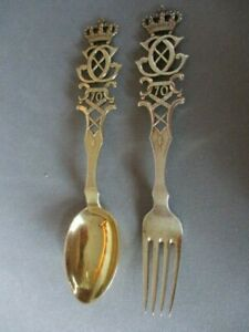 A. Michelsen 1940 Sterling Gold Commemorative King Christian X Spoon and Fork