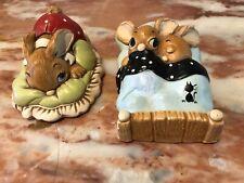 Vintage Pendelfin Stoneware Bunny Rabbit Figurine Lot 2 England Hand Painted