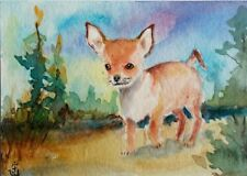 Hand Painted Original Watercolor ACEO CHIHUAHUA Friendly Pet Dog Signed by JV