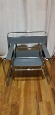 Wassily Chair [pair] by Marcel Breuer, Gray Leather, Excellent Condition