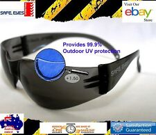 3x Bifocal Reading  1.5 strength Safety Glasses  Smoke tint Sunglasses Readers