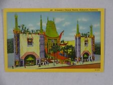 Vintage Linen Curt Teich Postcard Graumans Chinese Theatre Hollywood CA Unposted