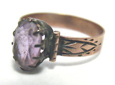 VICTORIAN 10K ROSE GOLD AMETHYST RING BAND SIZE 5