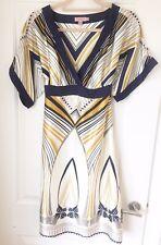 TED BAKER 100% Silk Kimono Dress Sz 2 UK 10 Blue Gold Cream Stripe Aztec RRP£229