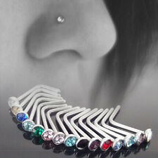 10pcs Wholesale Stainless Steel Charm Nose Body Piercing Stud Crystal Screw Ring