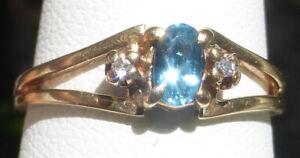 10k TEAL Montana Sapphire 5x3mm Diamond accents Classy Love Blue YG sz 6 ring