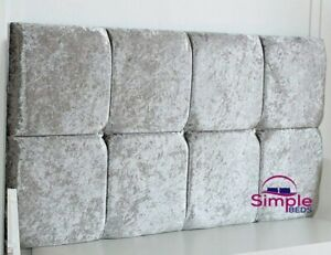 Luxury Crushed Velvet Cube Headboard, Divan, Single, Double, King, Silver - 20""