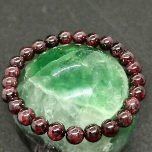 Natural Red Garnet Bracelet Round Beads Gemstone Spiritual Healing