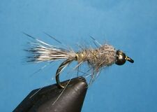 Gold Ribbed Hare's Ear Nymph Bead Head Natural: 12 Nymphs- mix of sizes; 8, 10,