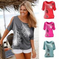Women's Summer Fashion Ladies Loose T-shirt Short Sleeve Casual Tops Blouse New