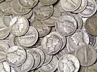 Lot of 100 Mercury Silver Dimes $10 Face Value 90% Silver Coins 1940s Dates