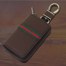 Universal Brown PU Key Case Car Remote Folding Key Pouch Key Chain Zipper Bag