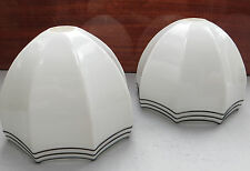 A Pair of Art Deco White Milk Glass Light / Lamp Shades with Black Glass Trails