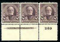 USAstamps Unused VF US Series of 1895 Sherman Plate # Strip Scott 272 OG 2 MNH