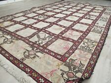 Vintage Handknotted Oriental Asian Silk and Wool White Area Rug 4' x 6' Kilim