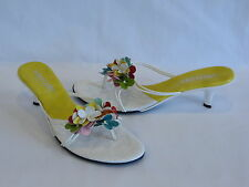 "Sam & Libby ""Italy"" White/Multi Color Faux Leather Slides/Thongs - 8.5M/39"