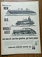 1948 Sinclair Opaline Motor Oil Ad Whether your Car is New Old or Middle-Aged