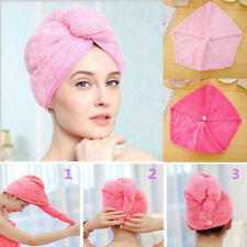 Bath Hat Quick Wrap Drying Loop Cap Hair Button Turbie Towel Twist