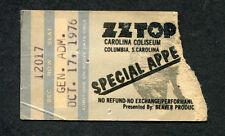 1976 Zz Top Styx Concert Ticket Stub Columbia Sc Fandango World Wide Tour