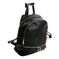 MADE IN ITALY Design Damen Wander City Rucksack Backpack echt Leder Schwarz 045S