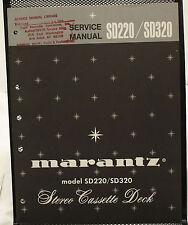 Original OEM Marantz SD220/SD320 Stereo Cassette Deck Service Manual