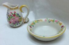 Miniature Ceramic Pitcher and Saucer Floral Design Hand Made Hand Painted  NEW