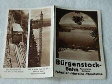 railway FUNICULAIRE Bürgenstock BAHN FAHRPLAN zug TIMETABLE horaires de TRAINS