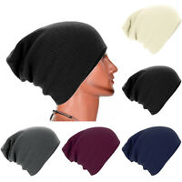 Mens Womens Knitted Woolly Winter Oversized Slouch Beanie Hat Cap Slouchy NEW