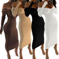 Femmes V-cou hors épaule moulante partie Maxi robe à manches longues en maille