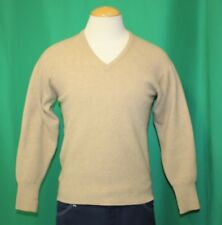 Vintage 40' Men's WWII Era ALAN PAINE Cashmere Beige V Neck Sweater Size S/M
