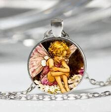 Fairy Tibet silver Dome Glass Cabochon Necklace chain Pendant #109