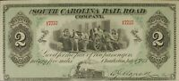 "1873 $2 SOUTH CAROLINA Rail Road Company ""Fare Ticket"" Note TRAIN CU crisp UNC !"