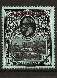 ASCENSION (Y-028) 1922 SG9 1/- BLACK-GREEN  GOOD TO  FINE USED CDS  SEE SCAN
