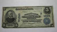 $5 1902 Holyoke Massachusetts National Currency Bank Note Bill 1246 Hadley Falls