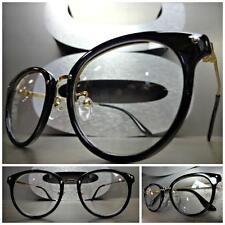 Mens Women CLASSIC VINTAGE RETRO Style Clear Lens EYE GLASSES Black & Gold Frame