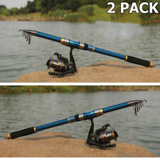 2X 2.1M Telescopic Fishing Rod Spinning Fish Hand Tackle Sea Carbon Fiber Pole