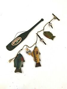 Welcome To The Lake Paddle Fish line Bobbers Cabin Decor Country Living
