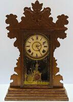 Antique 1800's E.N. WELCH 'Materna' Victorian Oak Parlor Mantel Kitchen Clock