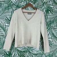 Everlane Cream White Wool Blend V-Neck Sweater Women's Size XL