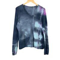 Galadriel Mattei Womens Cashmere V Neck Sweater Large Blue Tie Dye Long Sleeve