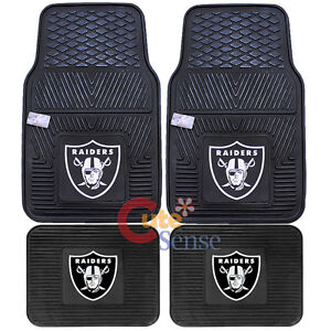 Oakland Raiders Front Floor Mat Rare Utility Mat  4pc Rubber NFL Fanmats Auto