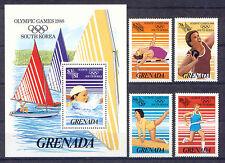 Olympiade 1988, Olympic Games - Grenada - 1538-1541, Bl.171 ** MNH
