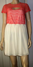 BOOHOO Pink Cream Sophie Cut Out Heart Neck Lace Top Prom Dress Size 12