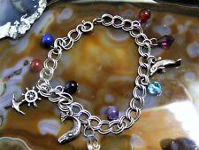 Vtg Sterling Silver Ocean Theme 7 Charm Bracelet Sperm Whale Dolphin Ships Wheel