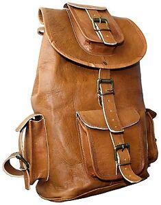 Mens New Genuine Leather Vintage Laptop Backpack Rucksack Messenger Bag Satchel