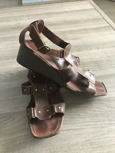 CLARKS ACTIVE AIR Tan leather wedge heel SANDALS UK 6.5 D piazza star